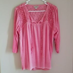 One World pink peasant blouse